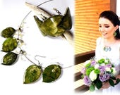 Real  leaf wedding jewelr...