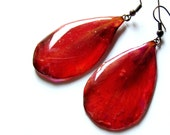Dangle Real Peony Red Earrings, Jewelry holiday gift, Resin Ruby earrings, Festive jewelry, Red flower earring, Resin red peony earrings