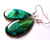 Emerald Green leaf jewelry, Mystery earrings green grass jewelry, emerald earring leaf dangle, Botanical green gift art, real leaves for her