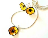 Small poppy jewelry set, yellow anemone floral stud earrings, sterling silver chain pendant, tiny flower charm necklace gift for women
