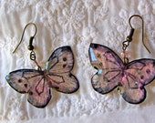 Pale pink butterfly earrings, Translucent Resin butterfly dangles, Hand painted Light magenta butterfly jewelry