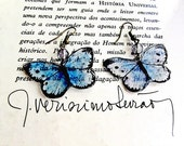 Blue butterfly earrings w...