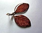 Autumn leaf dangle earrings, real leaf Gold jewelry Maroon earring, Organic drop jewelry gift, Leaf gift for women, Resin Burgundy earrings