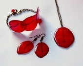 Real flower red jewelry set, Necklace gift from Bougainvillea, Bohemian set gift for her, Red Christmas gift, women jewelry red gift for mom