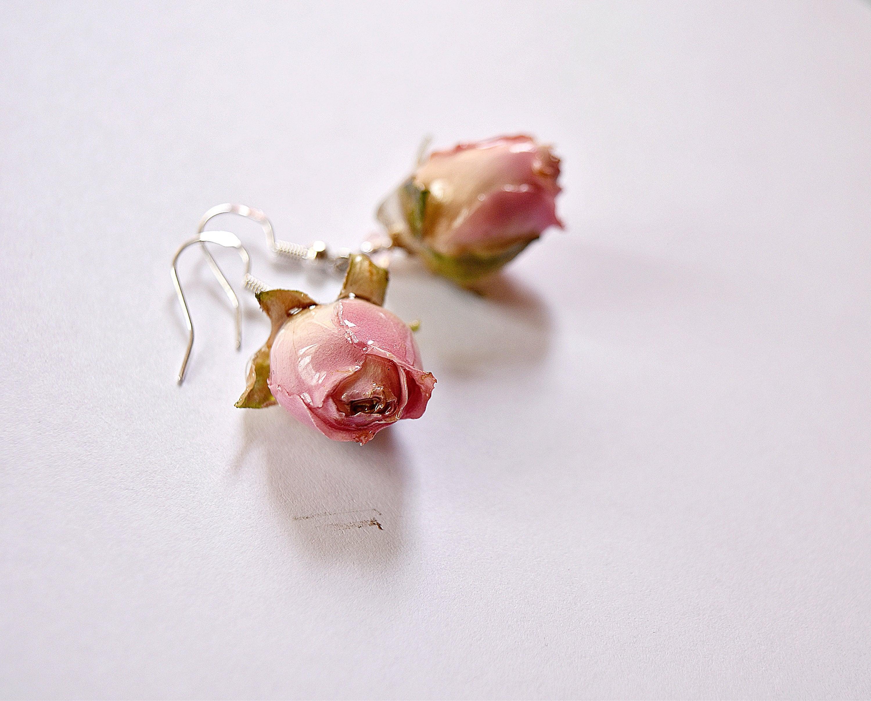 Adults earrings-Best gift for her-resin flower dangle earrings Hot Pink Real  flower petals drop earrings Mother/'s Day gift
