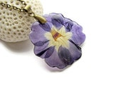 Pressed flower jewelry Indigo flower necklace Resin jewelry real Primrose and purple floral Cobalt Blue necklace with real flower pendant
