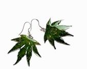 Real plant epoxy jewelry, cannabis leaves, Marijuana shape earrings Green Weed Pot Rasta hemp organic jewelry for smokers Funky junkie gift