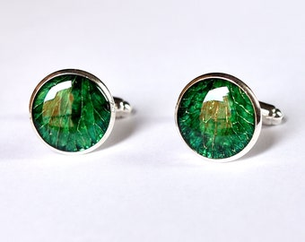 Emerald Cufflinks from real flower, Christmas natural eco green men cuff links, Botanical dad gift idea for him from Tropical Jungle