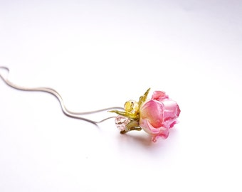 Organic jewelry pink, real rose necklace, Tiny flower pendant, Gift for women, Rose gift for her, Girlfriend gift rose, Mother Birthday gift