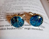 Navy  Blue Cufflinks from real flower, Wedding eco bio vegan men cuff links from nature, Botanical dad gift idea for him