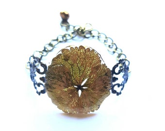 Art deco fall gold and brown natural cuff bracelet, real flower and resin jewelry, autumn floral accessory gift for mom, girlfriend, sister