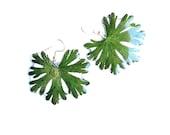 Winter dangle jewelry for women, green snowflake earrings, Real leaves earrings in resin, Christmas botanical gift for garden lovers