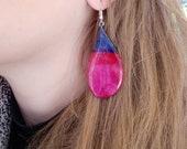 Bisexual Pride Botanical Earrings, Bi Flag jewellery from real tulips, LGBT Gifts in Pink Purple Blue real flower Jewelry