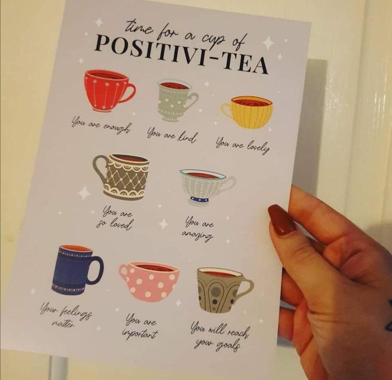 Positivi-tea Self Affirmation Print Positivitea A6 A5 A4 A3 image 1