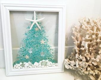 Christmas sea glass, Christmas gift, Christmas decor, beach decor, coastal Christmas, beachy Christmas, hostess gift, housewarming gift