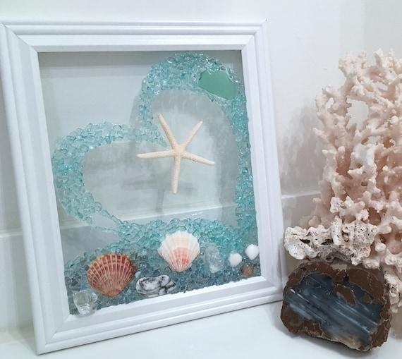 Beach Decor Sea Glass Art Christmas Gift Wedding Gift Seaglass Window Bathroom Art Heart Beach Glass Beach Wedding Wall Art