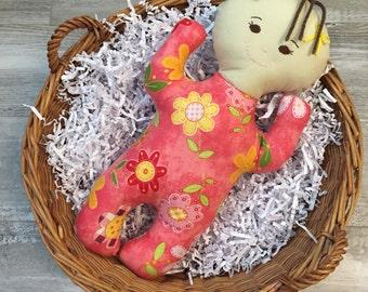 "Handmade Cloth Soft Baby Doll Girl ""Ellie"""