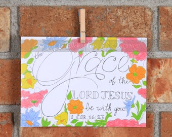Grace be with You, Colored Pencil Art Print, 5x7 or 8x10