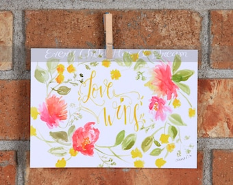 Floral Love Wins, Watercolor Art Print, 5x7 or 8x10