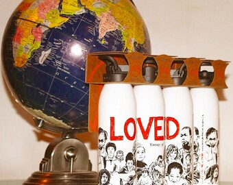 """Recycled Aluminum """"LOVED, Romans 5:8"""" 24 oz Water Bottle, Twist Off Cap, BPA Free, USA Made, Liberty Bottleworks"""