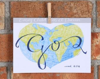 Go, Colored Pencil Art Print, Mark 16:15-16, 5x7 or 8x10