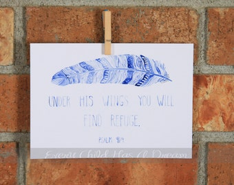 Under His Wings, Psalm 91:4, Native Feather Watercolor Art Print 5x7 or 8x10, Blue or Purple