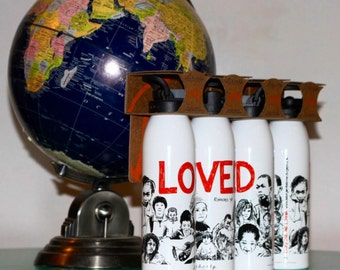 """Recycled Aluminum """"LOVED, Romans 5:8"""" 24 oz Water Bottle, Sports Cap Lid, BPA Free, USA Made, Liberty Bottleworks"""
