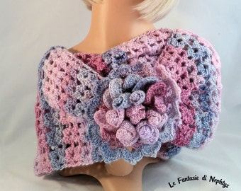 """Crochet Multicolor Infinity Scarf / Cowl for Woman, model """"Mayflower"""", handmade, made in Italy"""