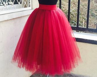 225ed62980 Tulle Skirt Woman, Adult Tutu Skirt, Red Tulle Skirt, Red Tutu Skirt,  Womens Tulle Skirt, Red Wedding Skirt, Boho Chic Skirt, Bridal Skirt