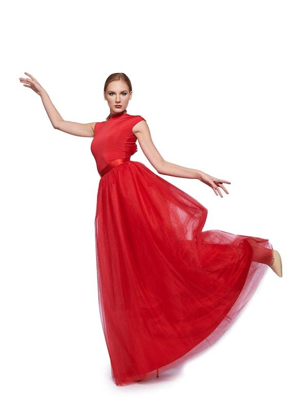 Red Tulle Skirt Long Red Skirt Maxi Skirt Red Tutu Skirt Etsy