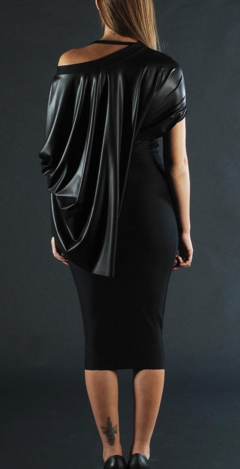 Eco Leather Dress Latex Dress Plus Size Dress Midi Dress | Etsy