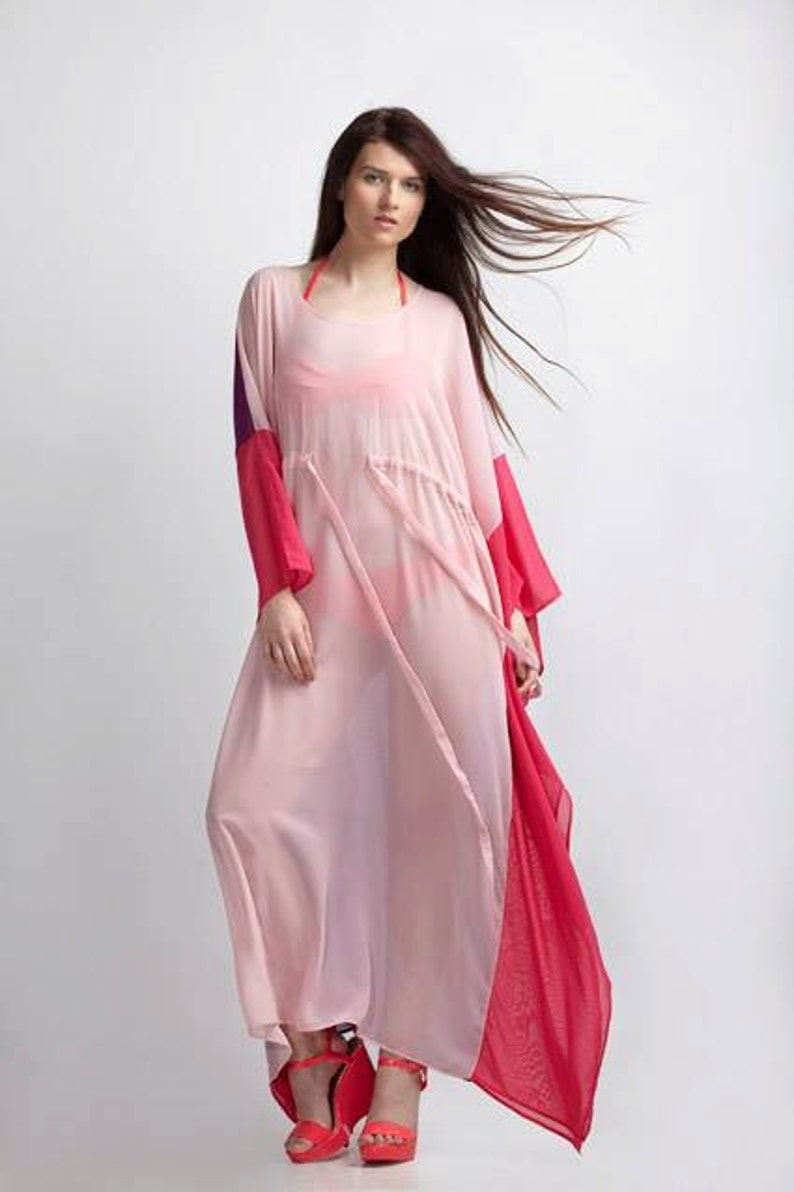 9659eb8828905 Womens Chiffon Dress Plus Size Kimono Dress Boho Maxi Dress