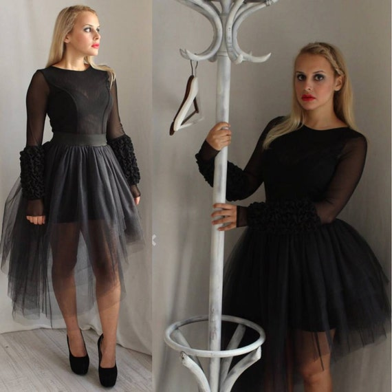 Black Wedding Dress, Black Tulle Dress, Plus Size Dress, Mesh Dress, Sheer  Women Dress, Long Sleeve Wedding Dress, Black Bridesmaid Dress