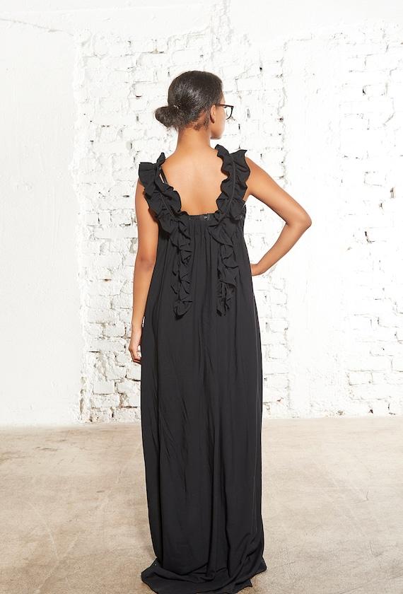 Black Maxi Dress, Plus Size Summer Dress, Urban Dress, Plus Size Kaftan,  Loose Dress, Women Dress, Extravagant Black Dress, Sleeveless Dress