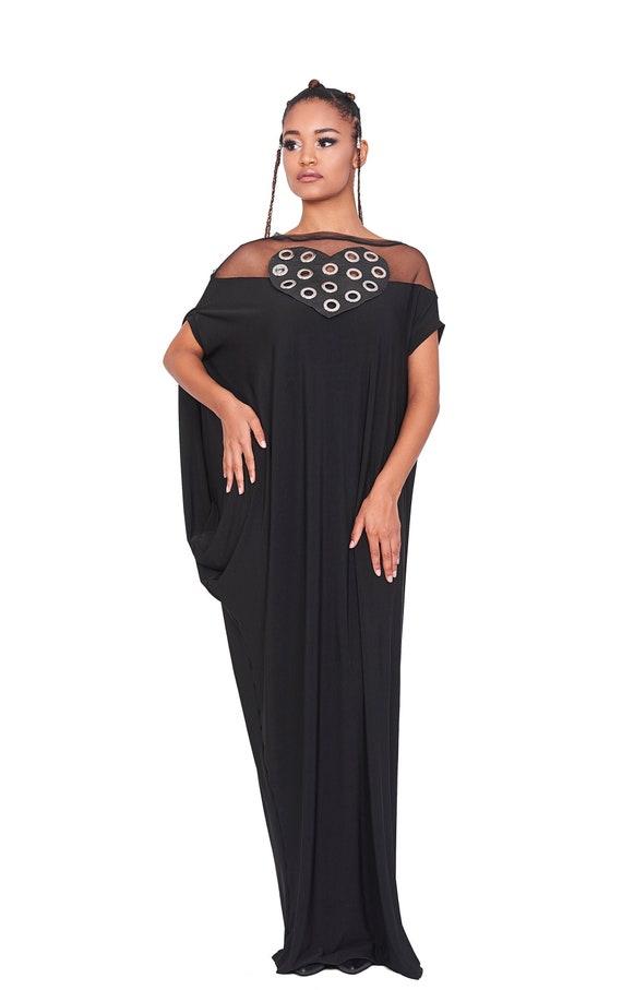 Plus Size Maxi Dress, Black Maxi Dress, Women Maxi Dress, Gothic Clothing,  Plus Size Dress, Short Sleeve Dress, Plus Size Clothing, Trendy