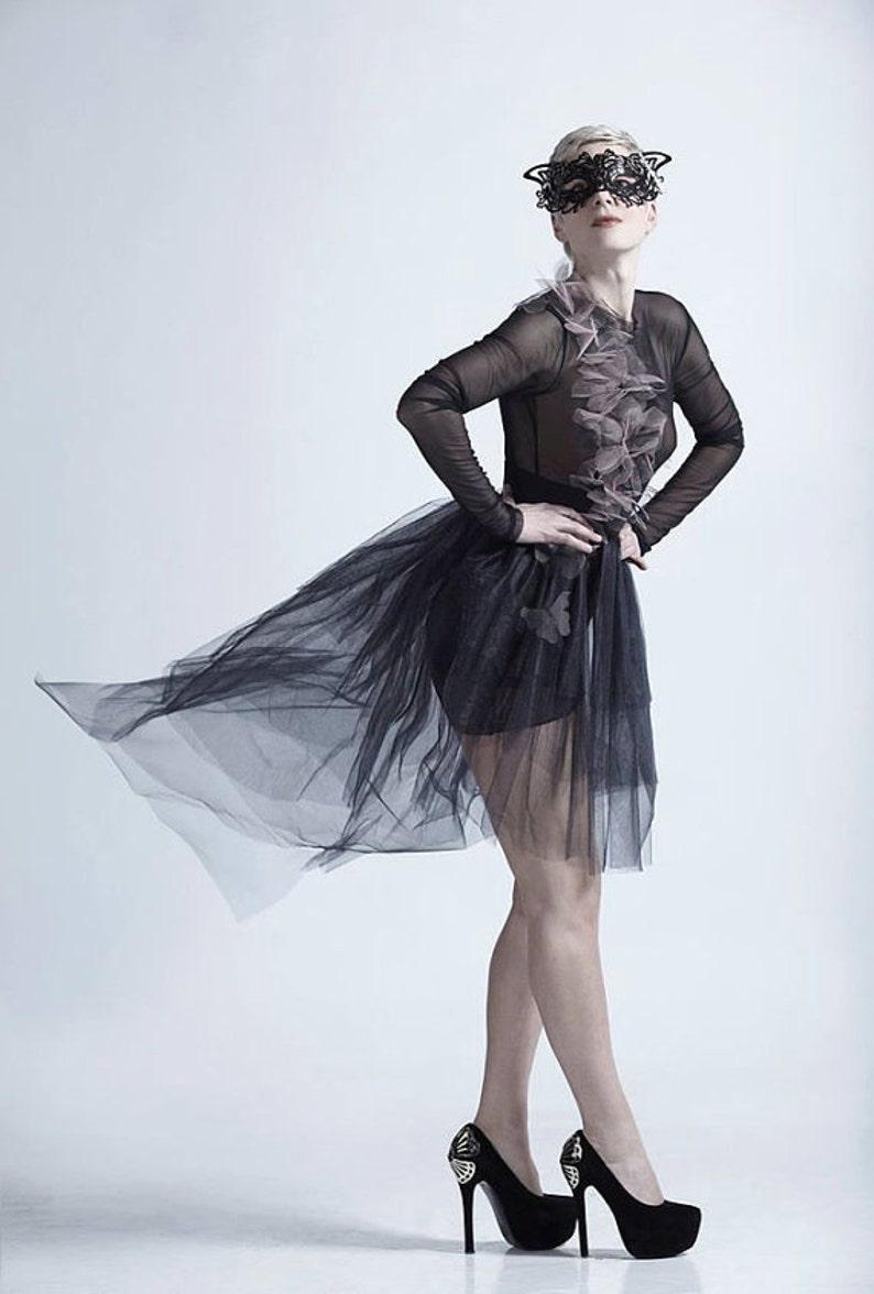 0477855c7da1df Sheer Dress Black Wedding Dress Black Tulle Dress