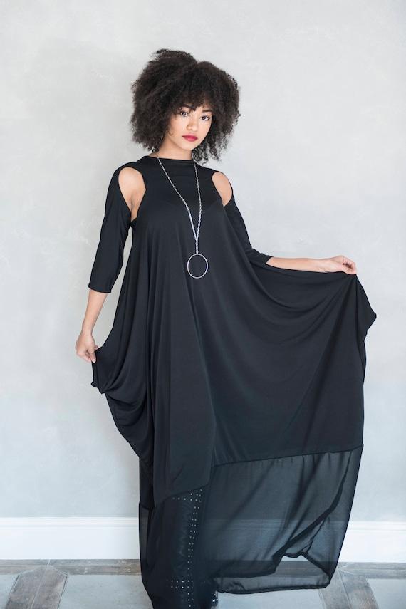 Black Maxi Dress, Black Kaftan, Trendy Plus Size Clothing, Maxi Tunic  Dress, Gothic Clothing, Extravagant Dress, Loose Dress, Women Caftan