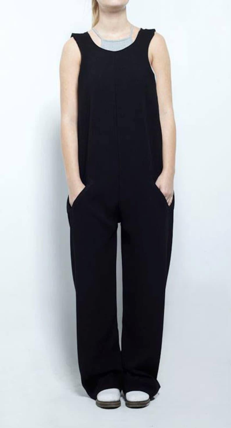 Vintage Jumpsuit Baggy Jumpsuit Wide Leg Romper Sleeveless Romper Wrap Jumpsuit Wrap Romper Womens Black Overall Maternity Jumpsuit