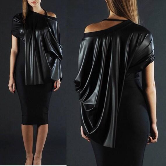 Eco Leather Dress, Latex Dress, Plus Size Dress, Midi Dress, Goth Dress,  Bodycon Dress, Pencil Dress, Fetish Dress, Women Dress, Black Dress