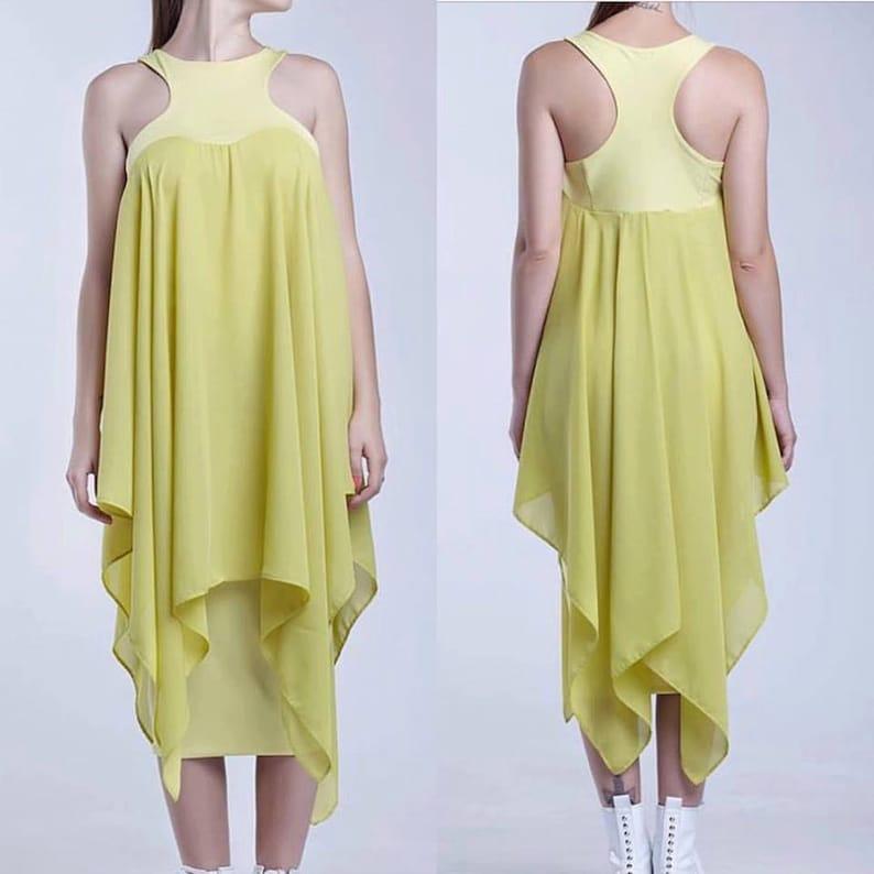 Yellow Dress Sleeveless Dress Summer Dress Beach Dress Asymmetric Dress Boho Dress Women Dress Cocktail Dress Bridesmaid Dress