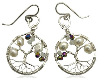 Tree-of-Life Earring Alexandrite Freshwater Pearl Moonstone Earrings 3rd Anniversary Jewelry Sterling Silver Boho Jewelry Women 30th Gift