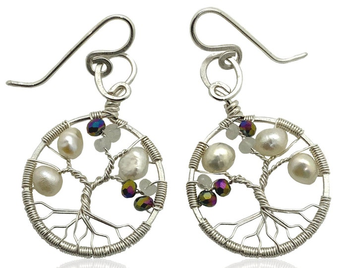 Tree-of-Life Earring Synthetic Alexandrite Freshwater Pearl Moonstone Earrings 3rd Anniversary Sterling Silver Women 30th Gift