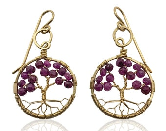 Gold Ruby Tree of Life Earrings for Women, 40th Anniversary, July Birthstone Gift