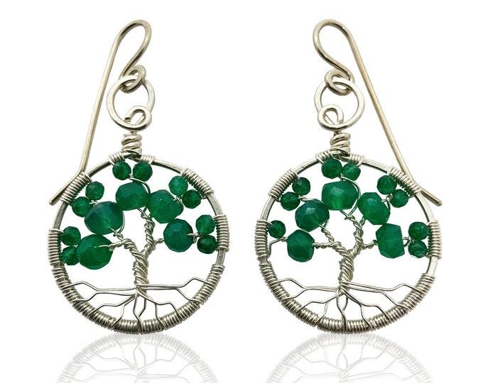 Silver Emerald Green Onyx Tree of Life Earrings May Birthstone for Gemini Taurus