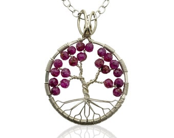 Silver Ruby Tree of Life Pendant Necklace for Women, 40th Anniversary, July Birthstone Gift
