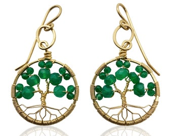 Gold Emerald Green Onyx Tree of Life Earrings May Birthstone for Gemini Taurus