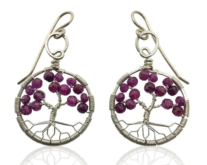 Silver Ruby Tree of Life Earrings for Women, 40th Anniversary, July Birthstone Gift
