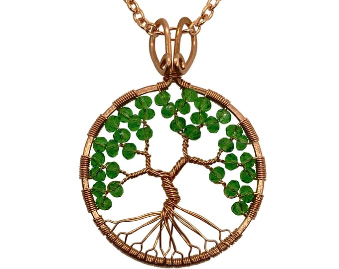 """Peridot Colored Crystal Tree of Life Copper Statement Necklace 24"""" Chain August Birthstone 1st & 16th Anniversary"""