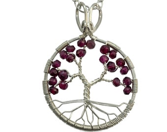 Tree of Life Garnet Chakra Pendant Necklace for Women, Silver Wire, January Birthstone, 2nd Anniversary