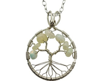 October Birthstone Silver Opal Tree of Life Pendant Necklace for Women 14th Anniversary Gift Libra